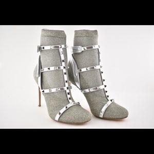 VALENTINO SILVER ROCKSTUD S 13 sock knit boots.